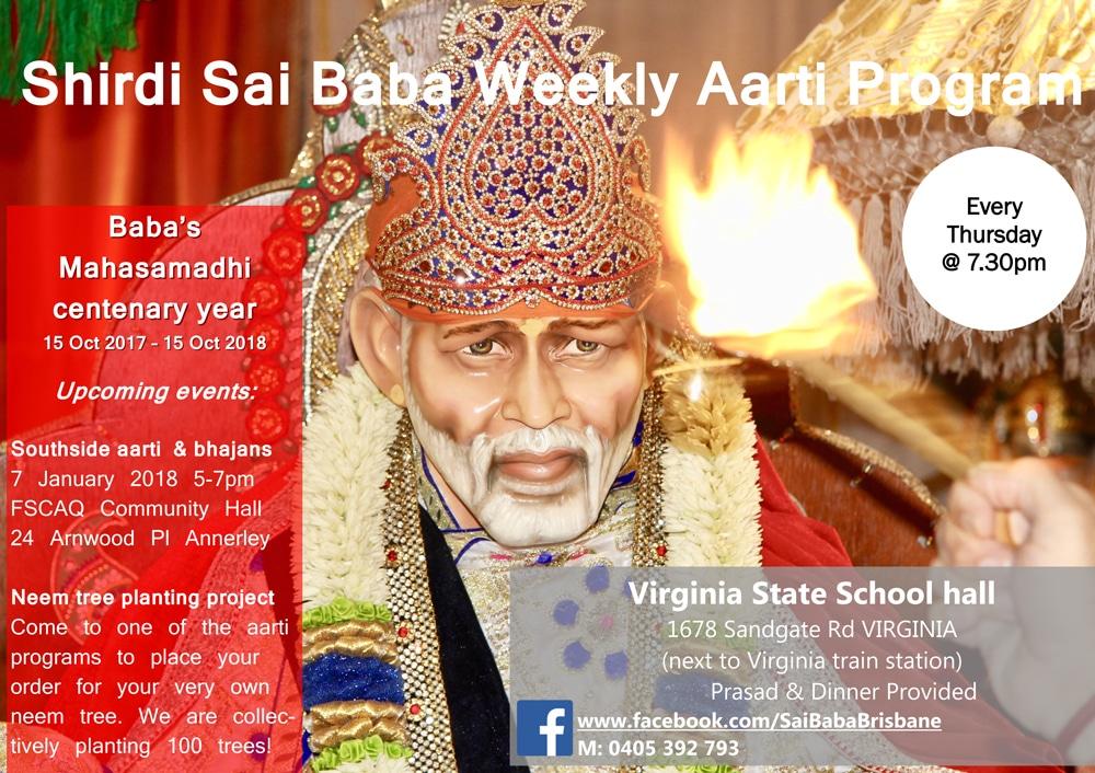 Shirdi Sai Baba Weekly Aarti Program Thursdays 730pm Brisbane